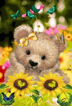 Teddy Bear cute flowers butterfly animated gif teddy bear