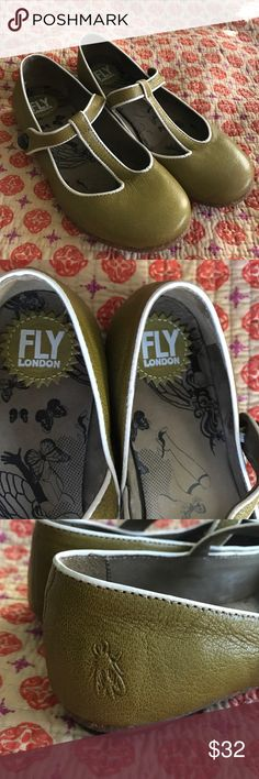 Fly London moss green Mary Janes These are in EUC. I'm re-Poshing bc they are too small. Marked size 38 but IMO fit like a small 7.5. SO adorable! I believe they were originally bought from Modcloth Fly London Shoes Flats & Loafers