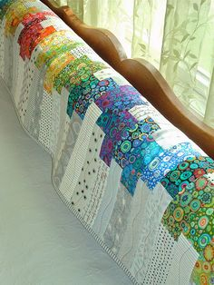 Heartbeat Couch Scarf @ www. Clm: book w/ pattern @ NPL - Heartbeat Couch Scarf @ www. Clm: book w/ pattern @ NPL - Jellyroll Quilts, Scrappy Quilts, Easy Quilts, Patchwork Quilting, Quilting Fabric, Quilt Baby, Image Deco, Quilt Modernen, Rainbow Quilt