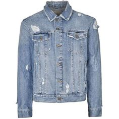 TOPMAN Blue Distressed Denim Jacket (93 CAD) ❤ liked on Polyvore featuring men's fashion, men's clothing, men's outerwear, men's jackets, blue, mens distressed denim jacket, mens blue jacket and mens distressed leather jacket