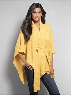 Cable-Stitch Belted Wrap