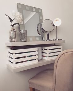 Really simple hack for small spaces. Simple Hack, Total Cost, Dressing Table, Floating Shelves, Office Desk, Crates, Small Spaces, House Design, Furniture
