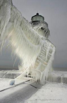 Frozen lighthouse in Michigan st Joseph lighthouse
