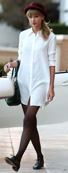White shirt dress + red brim hat