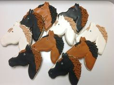 Horse Heads decorated sugar cookies by I Am the Cookie Lady