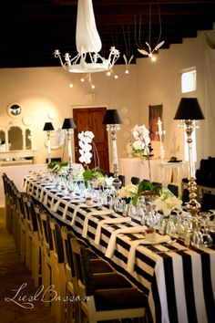 Black and white wedding table lay-outs. Less decor to allow for conversation; polka-dot votive candles, and small flower arrangements instead.