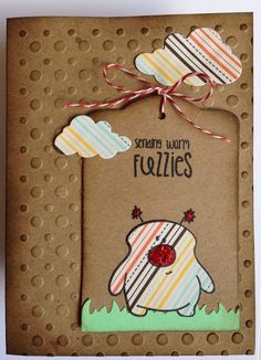 Paper, buttons, stamps & tiny bows & pink dots in little rows: Sending warm fuzzies The Alley Way Stamps
