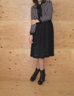 Vintage 80's Dress With Sheer Black & Taupe by ThatchVintage