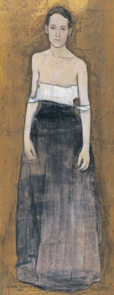 William Rothenstein Parting at Morning 1891 Chalk, pastel and bronze paint on paper