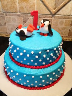 Winter Onederland Penguin Cake