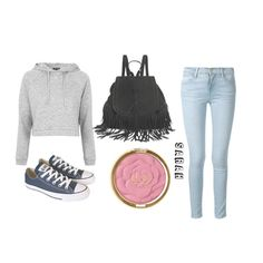 """School"" by sarahbicknelll ❤ liked on Polyvore featuring Frame Denim, Topshop, Milani and Converse"