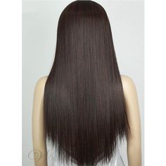Long Silky Straight Heat Resistant Dark Brown Synthetic Hair Wig ($63) ❤ liked on Polyvore featuring beauty products, haircare and hair styling tools