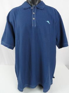 NWT Tommy Bahama Mens XL Blueberry Blue Emfielder Polo Shirt High Performance #TommyBahama #PoloRugby