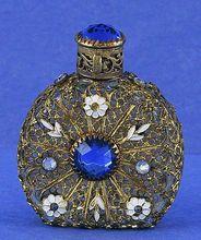 Eye-Catching! 1930's, Mini, Jeweled, Czechoslovakian, Czech, Purse Perfume / Scent Bottle
