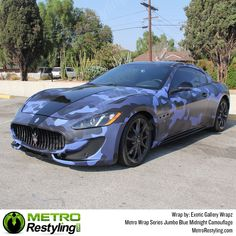 Metro Jumbo Blue Midnight camo car wrap is exclusively available at Metro Restyling. Maserati wrapped by Exotic Gallery Wrapz. Maserati, Weird Cars, Crazy Cars, Shades Of Dark Blue, Volkswagen Golf Mk1, Blue Camo, Ford Fusion, Unique Cars, Car Wrap