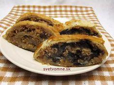 Jablkovo-orechová a jablkovo-maková štrúdľa Spanakopita, Beef, Treats, Ethnic Recipes, Desserts, Basket, Dios, Puff Pastry Recipes, Poppy