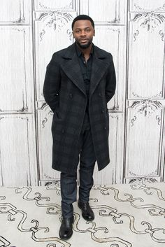 Derek Luke denim and gray plaid coat