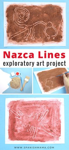 Nazca Lines Craft for Kids. An exploratory art project that teaches the geography and history of the Nasca Lines of Peru. A fun, hands-on way to learn Peruvian history for kids! Nazca Lines Peru, Nazca Peru, Line Art Projects, Projects For Kids, Diy Projects, History For Kids, Art History, South American Art, American History