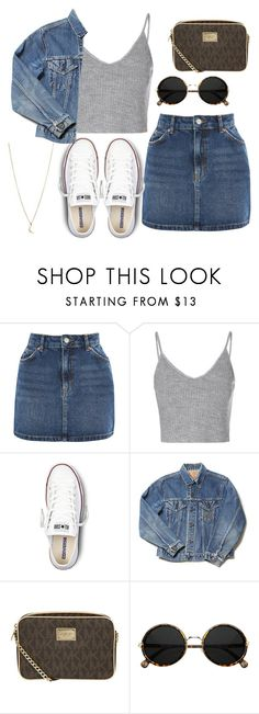 """Untitled #94"" by antisocial-angel ❤ liked on Polyvore featuring Topshop, Glamorous, Converse, MICHAEL Michael Kors and Minor Obsessions"