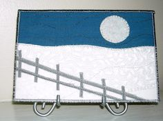 Handmade Fabric Postcard,Quilted Greeting Card,Full Moon Winter Snow Landscape