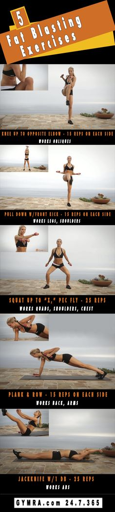 Total Body Workout: 5 Fat Blasting Moves! Get yourself in the best shape of your life with www.gymra.com . Start your free month now!!! Cancel anytime.#fitness #exercise #workout #health