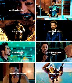 """Myers-Briggs meme: Tony Stark, ENTP -- """"The Visionary."""" Takes """"it can't be done"""" as a personal challenge. Verbally quick. In-depth understanding of how to improve things. Prizes intelligence in self and others."""