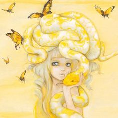 Camilla D'Errico - Yuuta, kawaii sexy girl with yellow snake Camilla, Pop Art, Art Et Illustration, Animal Illustrations, Pop Surrealism, Mellow Yellow, Art Design, Oeuvre D'art, Amazing Art