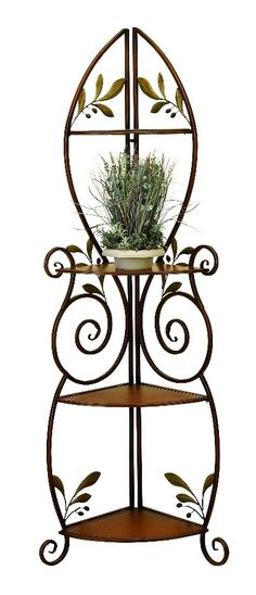 3 Tier Metal Corner Shelf Rack Scroll Branch Color Home Accent D | Furniture, home decor, wall decor, rugs, lamps, lighting outlet.