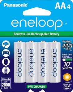 Panasonic - eneloop Rechargeable AA Batteries (4-Pack) - White, Blue