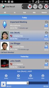 Automatic Call Record Application of Android Prime reason, for which large numbers of people belonging to different types of professions and age groups as well as working in different companies opt for Total Recall it is an automatic type of call recorder operating over the Android-based phones. Because of this automation feature only, it provides superb as well as simplest possible user interface.