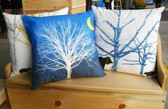 Pillow Cover Fox Tree Moon Blue White Yellow by SuchPrettyColors, $15.00