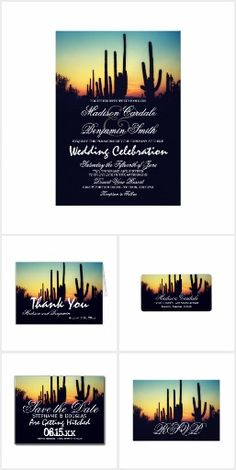 Arizona Saguaro Cactus Sunset Wedding Invite Set. This rustic country wedding set / stationary / suite may include: Wedding invitation cards, wedding envelopes, wedding RSVP Cards, wedding address labels, save the dates, wedding programs, wedding thank you cards, rehearsal dinners, stamps and more matching wedding products. Click image to see all available matching items.