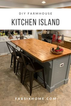 FabSix DIY I finally got a good idea of what I wanted to accomplish for this DIY Farmhouse Kitchen I Farmhouse Kitchen Island, Kitchen Island Decor, Modern Kitchen Island, Small Space Kitchen, Diy Kitchen Decor, Kitchen Tops, Small Kitchens, Kitchen Islands, Small Spaces