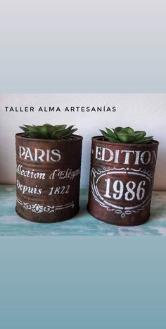 Tin Can Crafts, Diy And Crafts, Tin Art, Succulent Gardening, Rusty Metal, Tins, Latte, Decoupage, Diy Home Decor