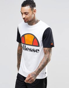 Model Joshua Williams@              Ellesse | Ellesse T-Shirt With Contrast Sleeve at ASOS