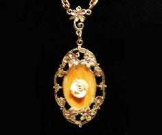 Flower Cameo Pendant - Procelian Flowers Necklace - Vintage Oval Goldtone with Rhinestones - 1928 Jewelry Company