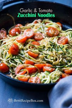 Best zucchini noodle recipe italian style, garlic, tomato parmesan. This easy zucchini noodle recipe is low carb, healthy and quick. Best italian zoodles