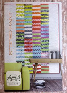 """This pattern includes detailed instructions for making the Striped Paint quilt. Fabric not included. Quilt size: 80"""" X 81"""" Level: Beginner"""