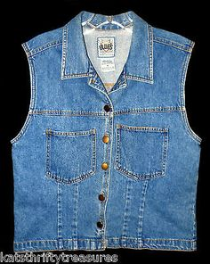 Womens Denim Jean Vest with Collar Size Medium Motorcycle Biker Next Move Blues | eBay