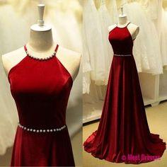 Elegant Burgundy Prom Dresses Beaded Halter Neck Long Prom Dress Sleeveless Backless Prom Dresses PD20182459