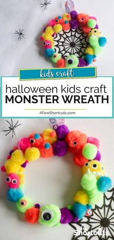 This halloween kids craft can't get much cuter! Find out just how simple it is to make this DIY Monster Wreath with your little monsters. #halloween #kidscraft #craft #diy #fall #monster #preschool
