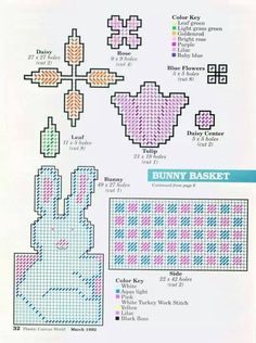BUNNY BASKET - FOUND PIC OF COMPLETED PROJECT. STATES FRIDGIES FLOWER CROSS EASTER BUNNY BASKET. STILL MISSING A PAGE THOUGH TO COMPLETE THE PATTERN