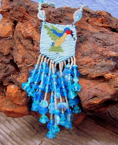 Ruby Throated Hummingbird Necklace Beaded Micro Macrame Handcrafted Blue Turquoise Green