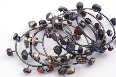 Bracelet/Bangle |  Ford & Forlano.  Pebble bangles, polymer clay and sterling silver.