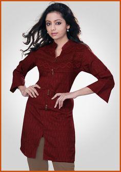Maroon Cotton Jacquard Readymade Tunic    Itemcode: TKC11    Price: US$ 18.80    Click @ http://www.utsavfashion.com/store/item.aspx?icode=TKC11