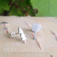 Tree Earrings Recycled sterling silver www.kileygranberg.com Copper Jewelry, Jewelry Art, Eco Green, Earring Tree, Canadian Art, Unique Art, Recycling, Stud Earrings, Jewels
