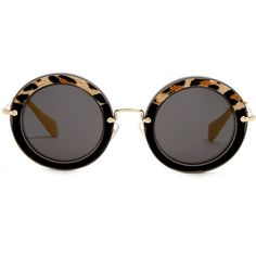 Miu Miu Noir round-frame sunglasses ($289) ❤ liked on Polyvore featuring accessories, eyewear, sunglasses, black multi, uv protection sunglasses, round sunglasses, round frame sunglasses, miu miu glasses and miu miu sunglasses