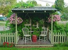 Don't have a porch, then make one out in the yard or garden! DIY Free Standing Garden Porch made of recycled materials. (Add to the garden shed or put somewhere on our jogging trail? Outdoor Rooms, Outdoor Gardens, Outdoor Living, Outdoor Projects, Garden Projects, Gazebos, Arbors, Backyard Seating, Garden Structures