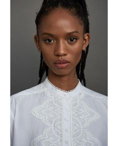 Shirt With Lace Bib // 89.90 USD // Zara // Poplin shirt with lace bib detail and lace cuffs. Featuring a stand-up collar, long sleeves, asymmetric hem, pleated back and front button fastening. HEIGHT OF MODEL: 178 CM / 5′ 10″