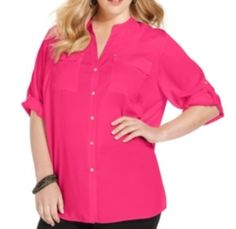 Calvin Klein Plus Size Top, Roll-Tab Sleeve Button-Front WInter Rose 1X